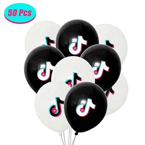 50 piezas de globos de cumpleaños TIK Tok,  globos de fiesta temática,  nota musical,  globos,  suministros de decoración de fiesta de cumpleaños para TIK Tok,  globos blancos y negros