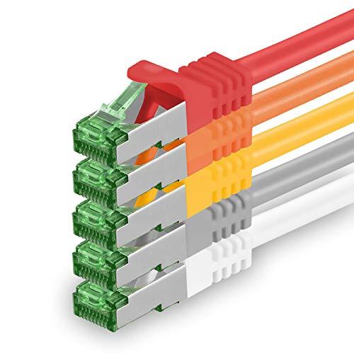 1aTTack.de Cat.7 netwerkkabel 1 m - 5 kleuren 01-5 stuks - Cat7 Ethernet kabel netwerk Lan kabel ruwe kabel 10 Gb s S-FTP PIMF set patchkabel met Rj 45 connector Cat.6a