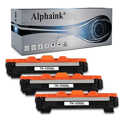 Alphaink 3 Toner compatibili con Brother TN-1050 TN-1000 versione XL da 2000 Copie per stampanti Brother HL-1210W HL-1212W HL-1110 HL-1112 DCP-1510 DCP-1512 DCP-1610W DCP-1612W MFC-1810 MFC-1910W