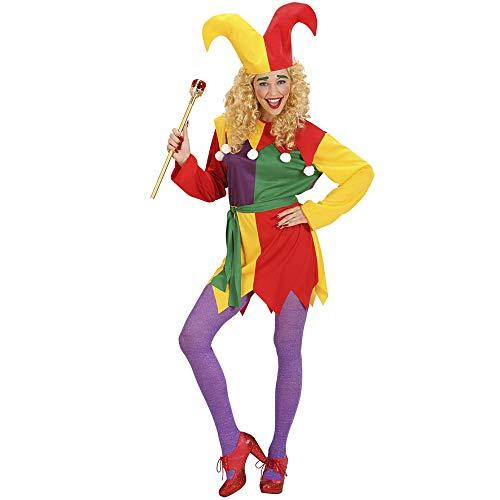 Widmann - Kostüm Spaßvogel, Kleid, Gürtel und Hut, Hofnarr, Clown, Mottoparty, Karneval