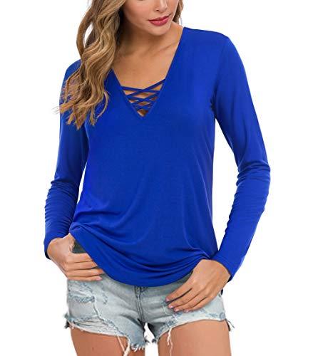Feiersi Women's Fall Long Sleeve V-Neck T-Shirt Tunic Tops Criss Cross Casual Blouse Shirts (Royal Blue,Large)