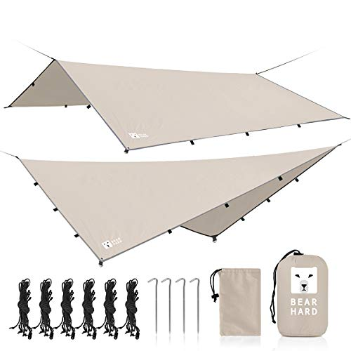 Bearhard Rain Fly Camping Tarp 10ft x 10ft Beige Hammock Fly Include 6 Ropes and 4 Stakes Lightweight Waterproof Tent Tarp Perfect for Camping, Hiking, Picnic