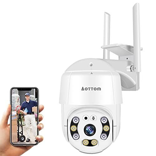 Überwachungskamera Aussen, 1080P Wlan IP Kamera Outdoor PTZ Dome Kamera, Sicherheitskamera mit Bewegungsmelder, 40m Nachtsicht, 2-Wege-Audio, IP66 Wasserdicht, APP YI Lot, SD Kartenslot(MAX.128 GB)