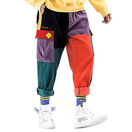 Aelfric Eden Calça cargo masculina com patchwork colorida Hip Hop Calça de corrida urbana, Muti-color, X-Small