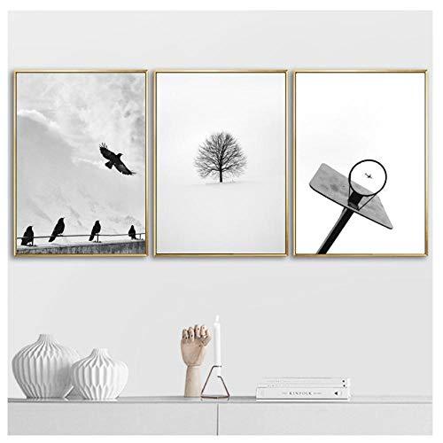 kaxiou Basketball Rahmen Vogel Baum Pfeil Wandkunst Leinwand Malerei Nordic Black White Poster Wandbilder für Wohnzimmer Home Decor-40X60Cmx3 Pcs kein Rahmen
