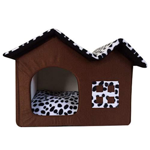 BIGBIGWORLD Haustier Haus Hund Katze Bett Höhlenbett Faltbar abnehmbar Klein Hundehaus Hundehöhle Kuschelhöhle,Kaffee,S