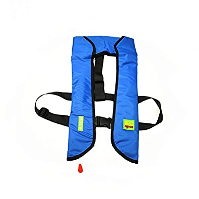 Top Safety Adult Life Jacket with Whistle - Manual Version Inflatable Lifejacket Life Vest Preserver PFD for Boating Fishing Sailing Kayaking Surfing Paddling Swimming - Adjustable Life Saving Vest