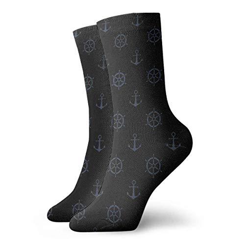 Kevin-Shop Calcetines Unisex para Hombre Anclas de Barco Originales Calcetines de Arte Fresco Calcetines para Exteriores Calcetines de Spandex