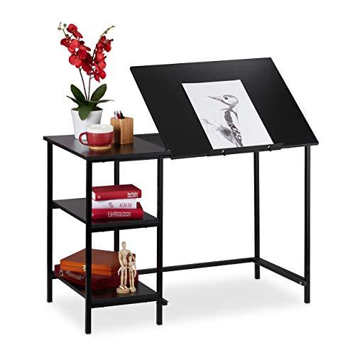 Relaxdays Escritorio reclinable, Tres estantes, Ajustable, Mesa de PC, Aglomerado, Hierro, Negro, 75 x 110 x 55 cm