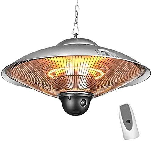SEESEE.U Industrial electric hanging heating ceiling patio heating halogen indoor outdoor heating waterproof IP34 protection level 2 with remote control - 2100 W metallic