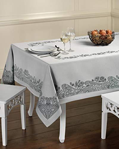 Tischdecke aus Baumwolle. Tischtuch, Mitteldecke. Hochwertiges Luxus Design. (Tischdecke - 150x150, #Luxury - Light Blue)