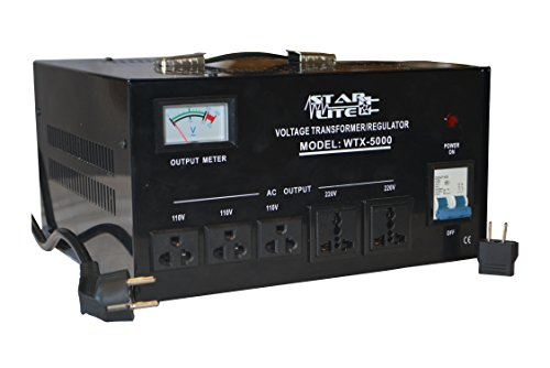 Starlite 5000 Watt Step Up/ Down Voltage Converter Transformer WTX-5000, 5 Year Warranty, Fuse Protection and Automatic Voltage Regulator - Two Way Transformer - 110 to 220 V or 220 to 110 V 110/120/220/240V