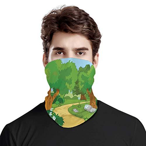 FULIYA Gran cara cubierta bufanda protección cuello, niños dibujos animados entorno parque bosque con flores y árboles florecientes, variedad bufanda de cabeza unisex