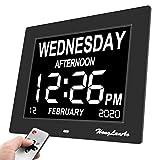 HongLanAo® Reloj Calendario Actualización | con Función de Alarma 8' Digital Calendario Día Reloj No Abreviatura de Letras | Reloj Digital Avanzado para Los Pacientes de Alzheimer (Negro)