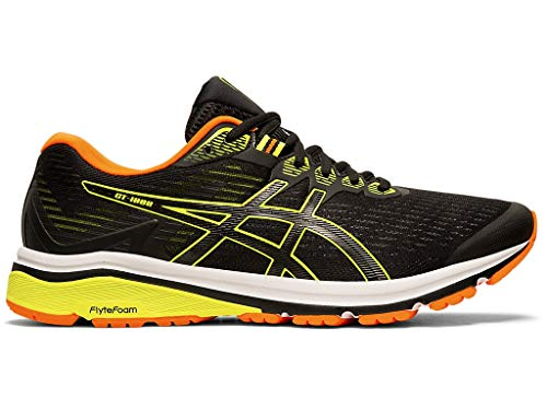 ASICS Men's GT-1000 8 Shoes, 10M, Black/Safety Yellow