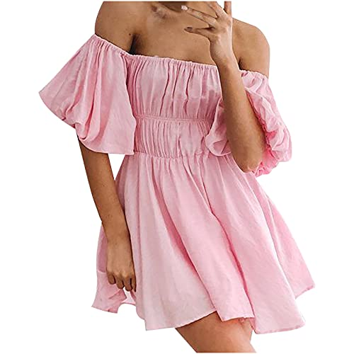 MoKFE Puff Sleeve Mini Dress for Women,Summer Strapless Wrap Elastic Waist Pleated Casual Short Dresses Pink