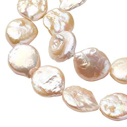 """PandaHall 14.8"""" Circa 30 pz Flamingo Round Piatto keshi Naturale Fili di Perline Perla Perle di Conchiglie Pietre Semipreziose Naturale per la Collana, Braccialetto, Creazione di Gioielli"""