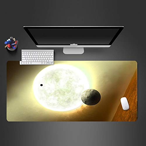 JIACHOZI Mouse pad for Laptop Space Moon Planet Landscape 1200×600×3mm Large Gaming Mouse Pad with Stitched Edges, Extended Mousepad with Superior Micro-Weave Cloth, Non-Slip Base, Keyboard Pad,