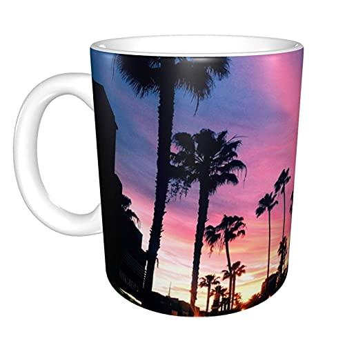 Cali Vice Sunset Home Taza de té de cerámica para oficina Taza de café de oficina 10 oz