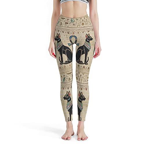 MiKiBi-77 Pantalones de yoga egipcios Gatos Ankh Cross Cozy Fashion Popular - Pantalones para vacaciones blanco 4XL