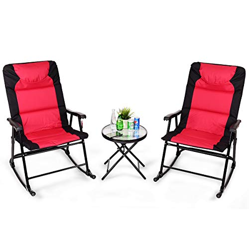 Giantex 3 PCS Folding Bistro Set Outdoor Patio Rocking Chairs Round Table Set 2 Rocking Chairs w/Glass Coffee Table for Yard, Patio, Deck, Backyard Padded Seat (Red & Black)