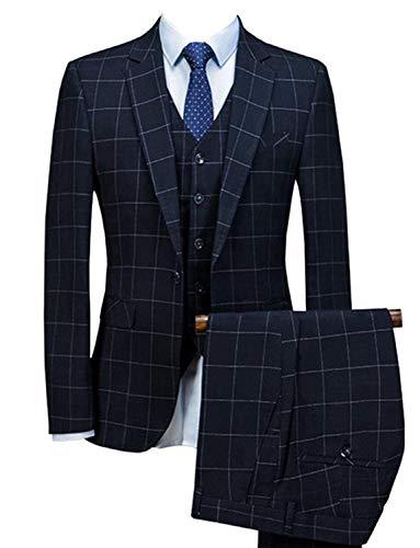CALVINSUIT Herren Männer 3 Stücke Schottenkaro Anzüge Einreiher Slim Fit Formale Hochzeit Prom Smoking