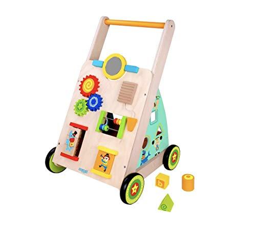 RB&G Lauflernwagen aus Holz mit Gummibereifung laufwagen ab 1 jahr laufhilfe für baby spielzeug ab 1 jahr laufwagen baby