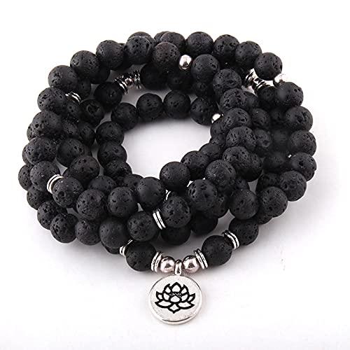 guodong Moda 108 Cuentas De Lava con Piedra Lotus Om Buddha Charm Yoga Pulseras Y Collar