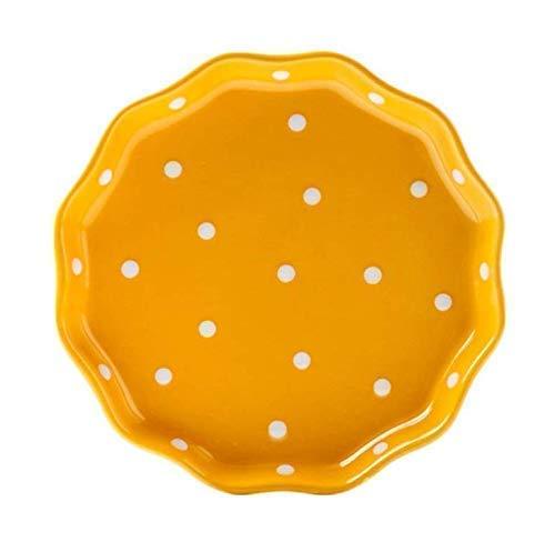 Gwill Keramik Welle kantig Polka Dot Teller/Salat Teller/Dessert Teller/Steak Platte für Küche Party Restaurant, Multicolor 8 \'\'