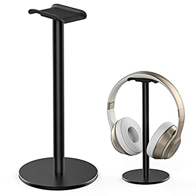 Headphone Stand Headset Holder Full Aluminum Alloy New Bee Sturdy Metal Stand with Non-Slip Silicone for Gaming Headset for All Headphone Sizes (Black) from New Bee