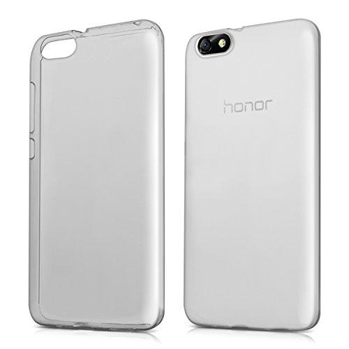 kwmobile 1x Funda Compatible con Huawei Honor 4X - Case Ultra Slim de TPU Silicona - Cover en Negro/Transparente