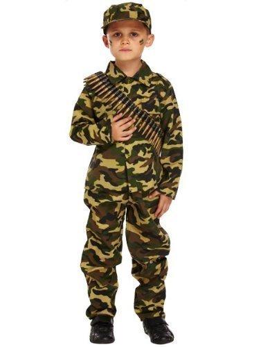 Fancy Me - Costume Déguisement Soldat Militaire Camouflage Pour Garcon - Vert, 4-6 ans