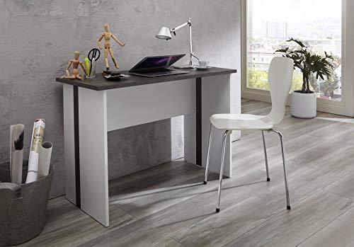 BMG Möbel Jugend-Kinder-Schreibtisch FARO Gaming Bürotisch Homeoffice PC-Tisch B/H/T: 110 x 75 x 50 cm (Weiß Beton)