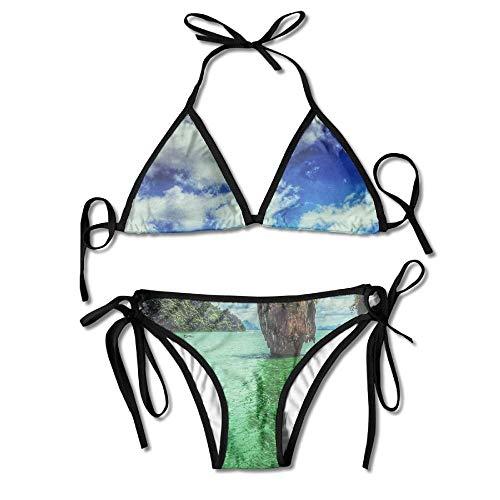 Zweiteiliger Bikini Landschaft Wasserinsel Ko Tapu Thailand Schwarz 2 Stück Bikini Sexy Badebekleidung Strand Tragen Frauen Mode Pool Langlebigen Badeanzug Strand Hawaii Badeanzug