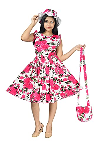 A.R.K. DRESSES Girl's A-Line Floral Knee Length Short Frock Dress with Cap, Mask and Purse (Light Pink, 7-8 Years)