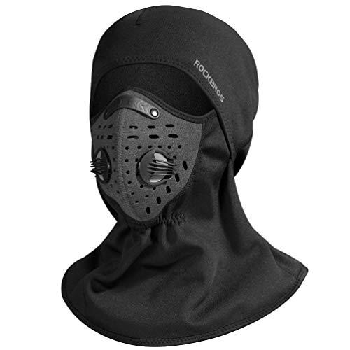 ROCK BROS Ski Mask Balaclava Fleece Motorcycle Cycling Thermal Outdoor Warm Windproof Face Mask Black (Black Mask)