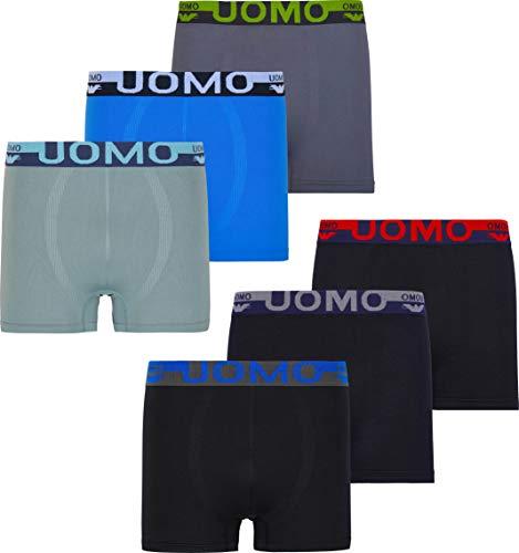 Herren Microfaser Boxershorts Uomo 9 Farbvarianten 12er 6er 3er Pack Elastan Schwarz Neon Palme Sterne Streife Löwe Eagle, Gr.- M, 6x Eagle