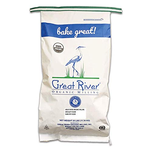 Great River Organic Milling, Specialty Flour, Dark Rye Flour, Stone Ground, Organic, 25-Pounds (Pack of 1)