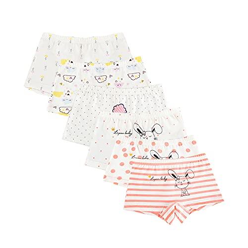 Little Girls Panties Toddler Boyshort Briefs Short Underwears Cotton Unicorn Bunny Swan 6-pack,Color6, 2-4T