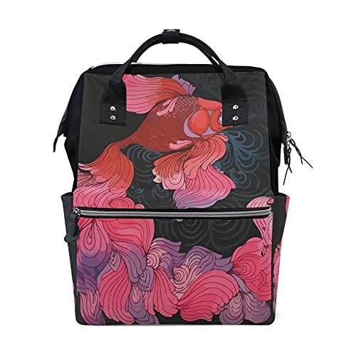 LDIYEU Pez Rojo Rosa Oscuro Bolsa Compra Reutilizables Bolsas de Mano para...