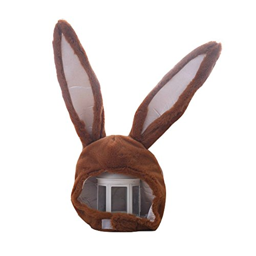 YARUODA Plush Fun Bunny Ears Hood Women Costume Hats Warm Soft and Cozy, Brown