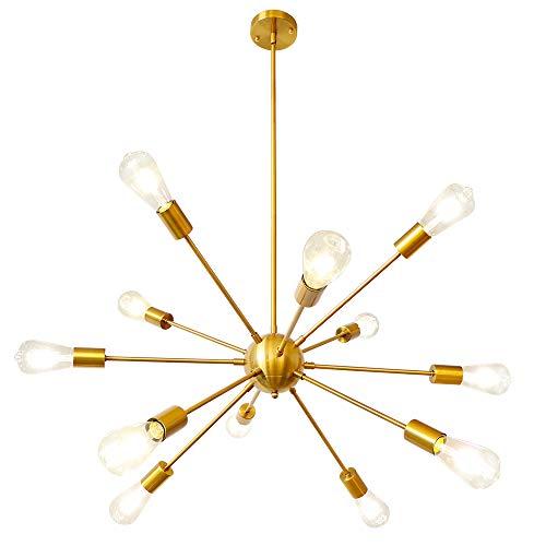 LynPon Sputnik Chandelier 12 Lights Modern Gold Brass Ceiling Light Fixture Industrial Vintage Pendant Lighting for Dining Room Kitchen Living Room Bedroom