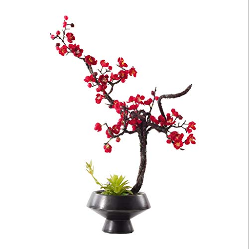 NYKK Artificial Flowers Chinese Artificial Red Plum Ceramic Bonsai Ornament, Suitable For Villa Hotel Family Wedding Decoration, Zen Artificial Artificial Bonsai Artificial Flower Fake Flowers