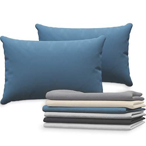 Dreamzie Juego de 2 x Fundas de Almohada 40x60 cm Azul 100% Algodon Jersey - Funda de Almohada Algodon 40x60 - Funda Cojin para Cama 40x60 - Protector de Almohada