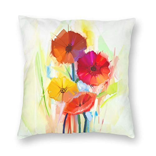"SHINENGST Abstract Oil Painting Throw Pillow Cases of Spring Flowers 18""X18"" Porch Armchair Cushion Covers for Spring Decorative Red Yellow Pillow Cover"