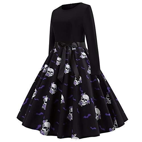 Halloween Abendkleider Partykleid Damen Brautkleider Halloween Kostüm Unterrock Kurz Langarm Swing Kleid Plisseerock Petticoat Kleider Rockabilly (Schwarz, XL)