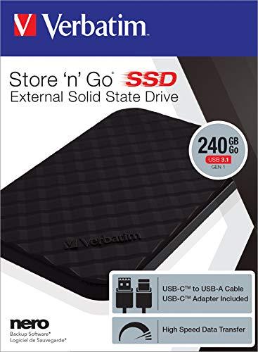 Verbatim Store 'n' Go externe SSD - 240 GB - tragbarer Datenspeicher mit USB 3.1 mit USB-C, Hochgeschwindigkeits-Datenübertragung - schwarz