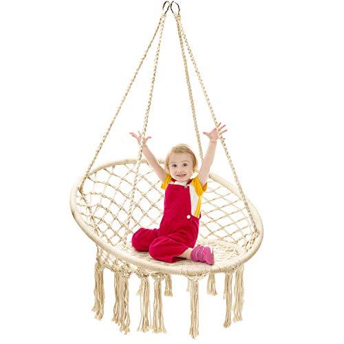 COSTWAY Hängesessel Hängestuhl zum Aufhängen, Hängesitz belastbar bis 150 kg Hängeschaukel 80x60x125cm (Beige)