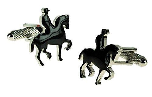 Horse Rider & Boutons de manchettes dans une boîte-cadeau Dressage-Onyx-Art London CK678