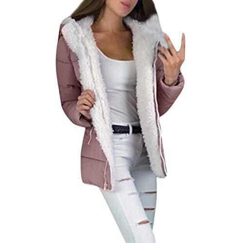 Xinantime Womens Winter Thicken Coats Long Sleeve Warm Jacket Outerwear Zipper Coat Plus Size Warm Tunic Pink